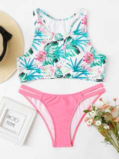Tropical Print Cut Out Side Bikini Set
