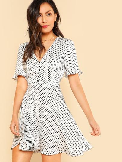 Ruffle Sleeve Polka Dot Plunging Dress