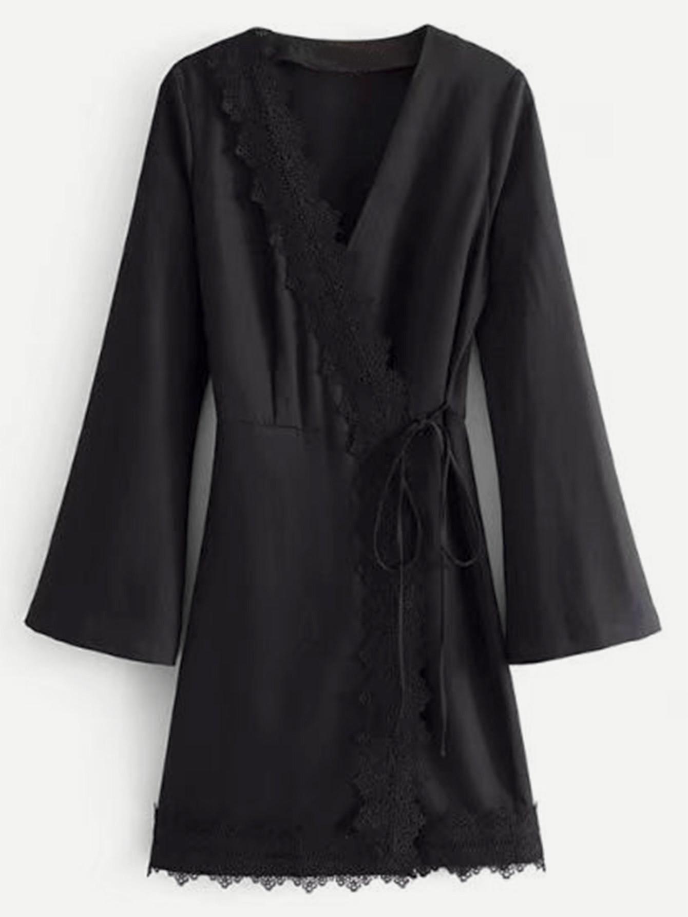Lace Trim Self Tie Kimono Dress