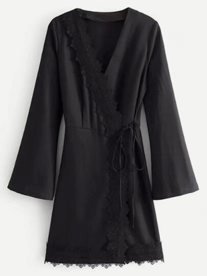 Lace Trim Self Tie Kimono Dress