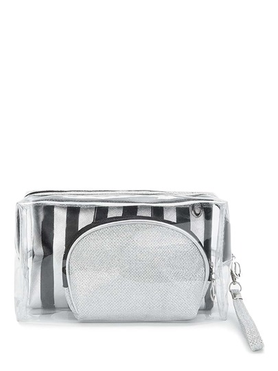 Striped Design Makeup Bag 3pcs