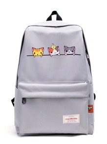 Cat Print Pocket Front Canvas Backpack