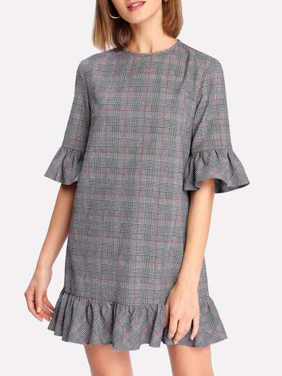 Ruffle Cuff And Hem Plaid Dress