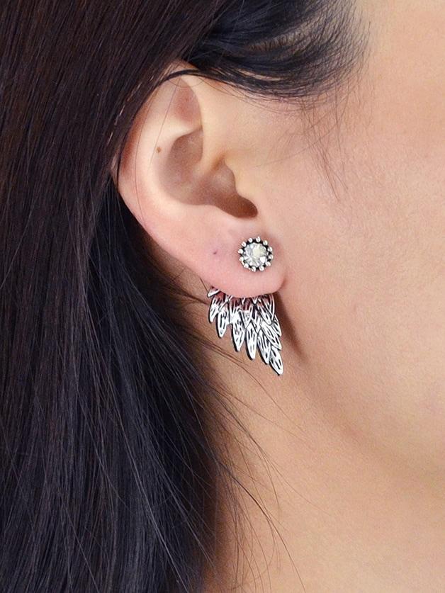 Silver Vintage Angel Wings Earrings