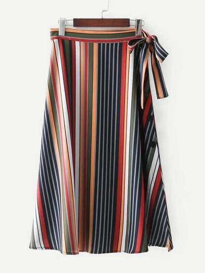 Self Tie Striped Skirt