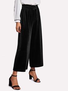 Drawstring Waist Velvet Wide Leg Pants