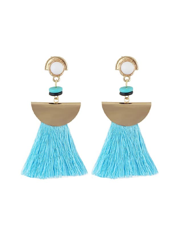 Blue Ethnic Boho Tassel Long Earrings цены онлайн