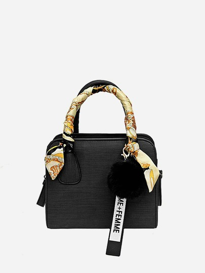 Wrap Scarf Satchel Bag With Pom