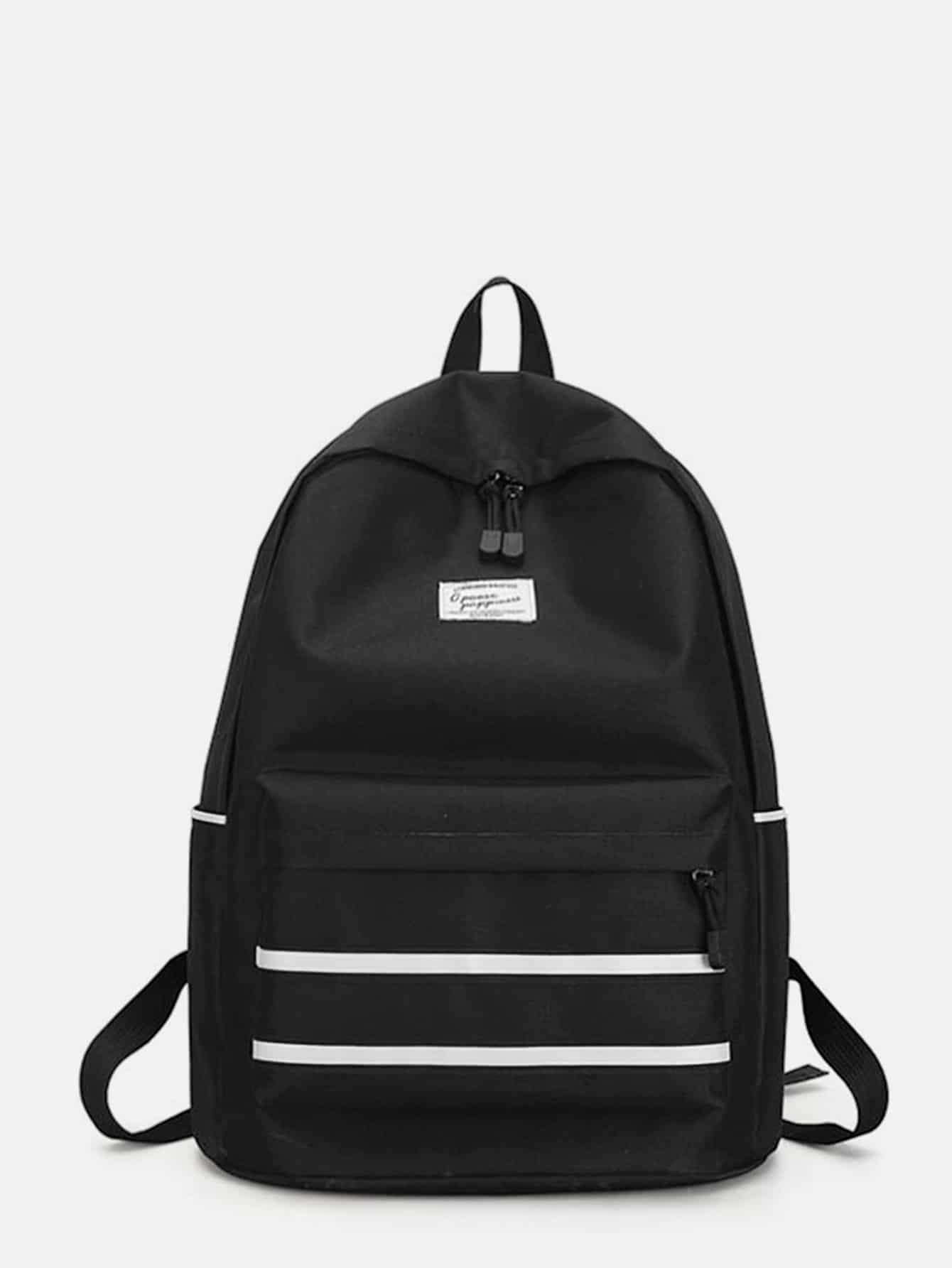 Striped Detail Pocket Front Backpack