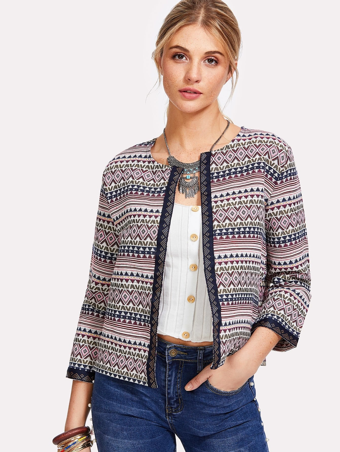 Embroidered Tape Detail Geo Print Jacket geo print button detail top