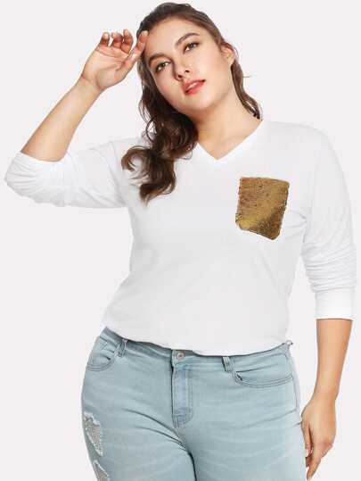 V Neck Sequin Pocket Patched Top