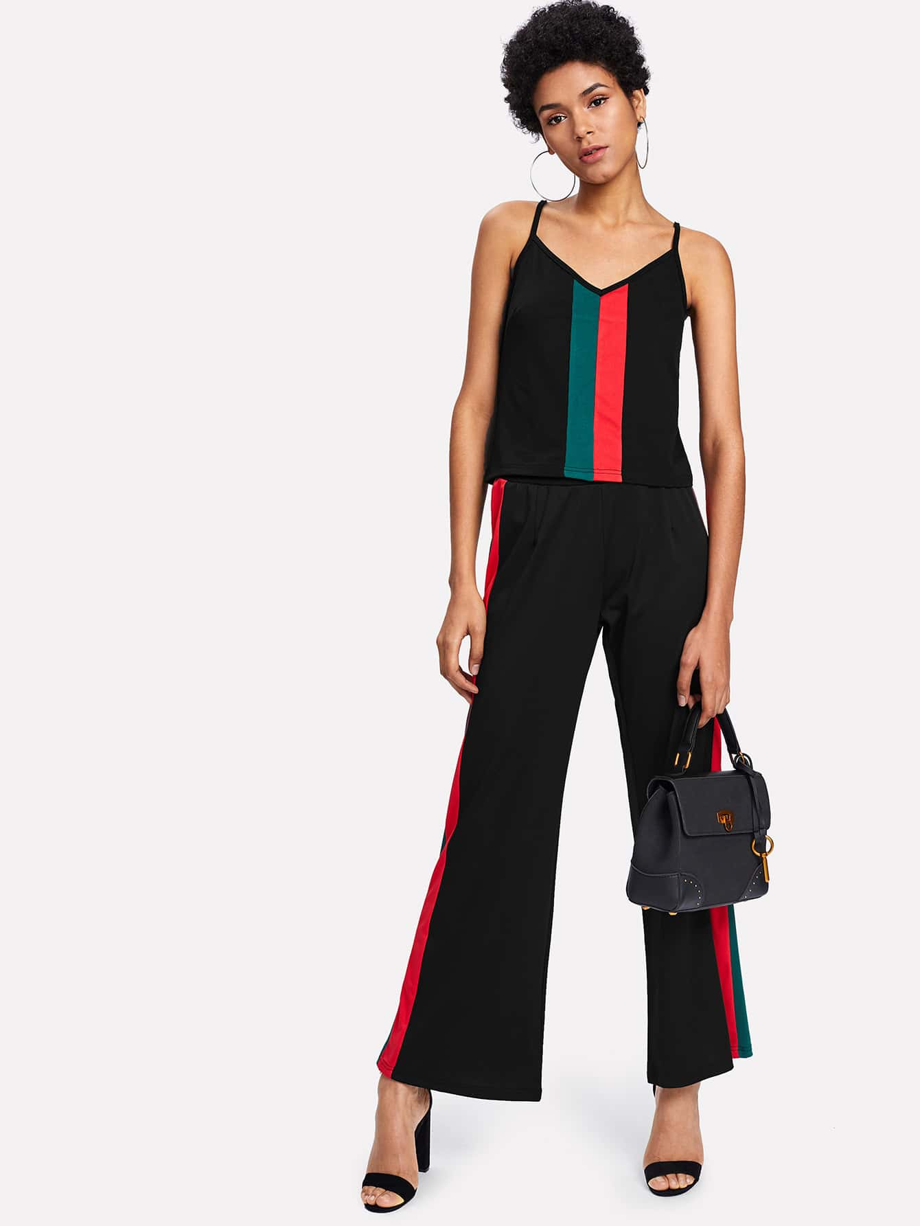 Contrast Stripe Panel Cami Top With Wide Pants contrast stripe tape side pants