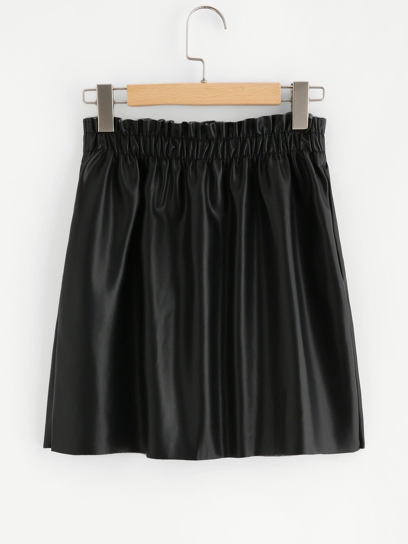 Shirred Waist Button Up Coated Skirt shirred waist zip back fit