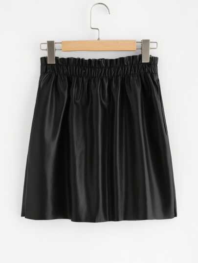 Shirred Waist Button Up Coated Skirt