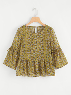 Lace Applique Abstract Print Smock Top