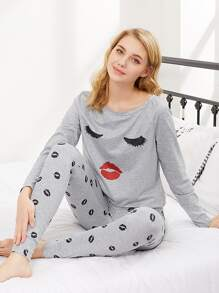 Graphic Raglan Sleeve Top And Sweatpants Pajama Set