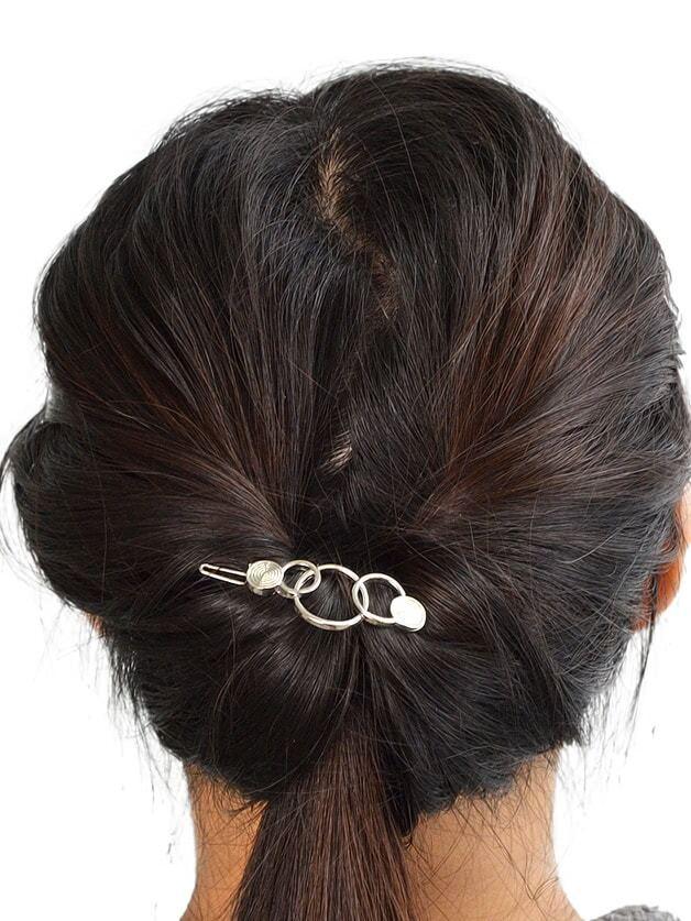 Silver Simple Geometric Hair Clip Frog Clip women s hair clip simple scissor shape charming hair accessory