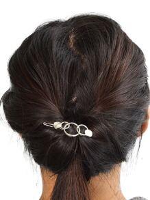 Silver Simple Geometric Hair Clip Frog Clip