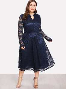 Keyhole Front Fit And Flare Lace Dress