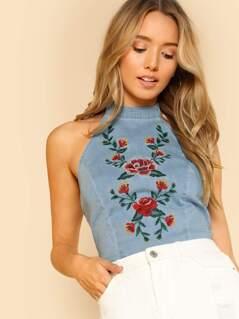 Flower Embroidered Open Back Denim Crop Top with Neck Tie LIGHT INDIGO
