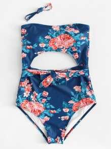Flower Print Detachable Straps Swimsuit