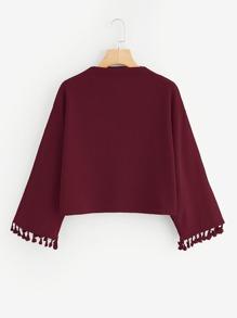 Drop Shoulder Fringe Trim Sweatshirt