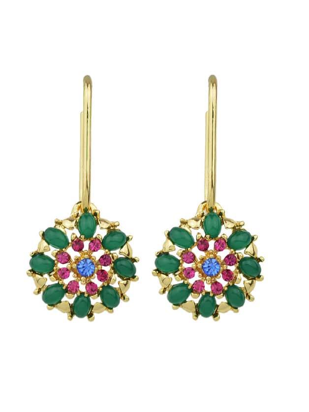 Boho Flower Round Party Earrings clip on earrings with mandala flower pattern round pendant