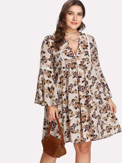 Lace Insert Flounce Sleeve Plunging Floral Dress
