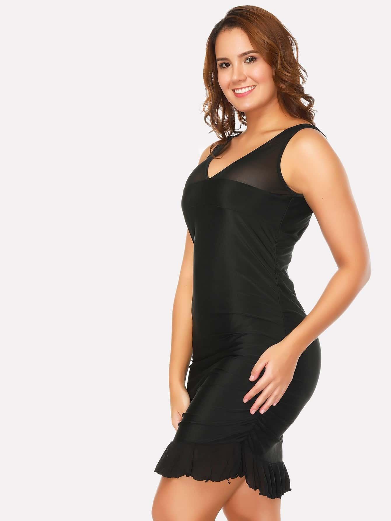 Ruffle Hem Mesh Panel Swim Dress ruffle mesh panel dress