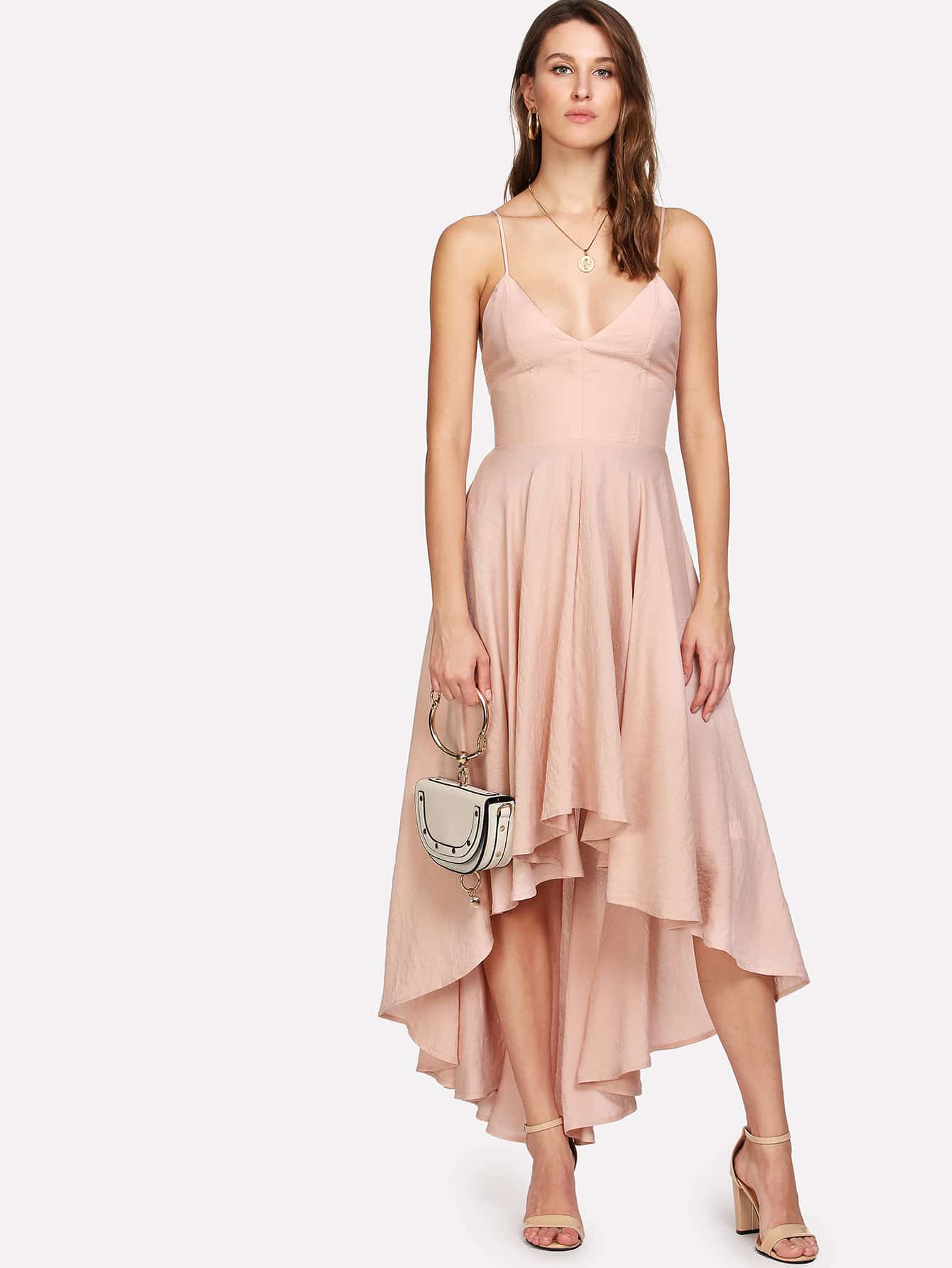 все цены на Boxed Pleated Dip Hem Cami Dress