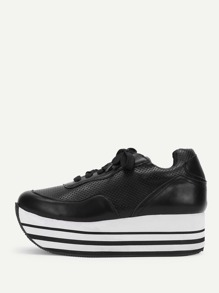 Striped Detail Flatform Lace Up Sneakers