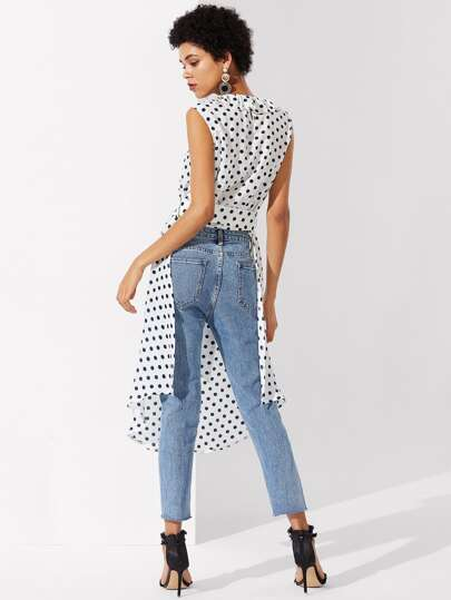 Ruffle Neckline High Low Polka Dot Blouse