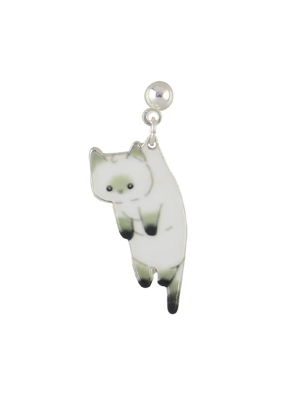 White 1 Pcs Cute Cat Earring