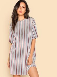 Vertical Striped Tunic Dress