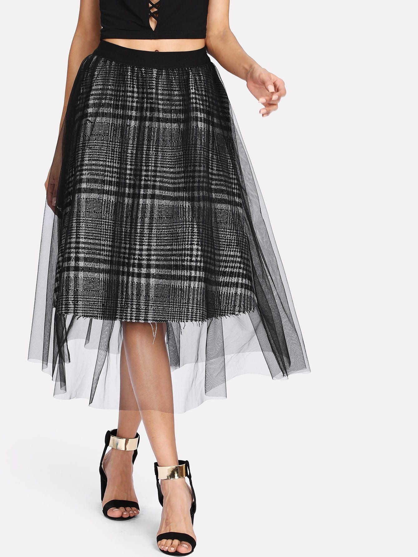 цена на Mesh Overlay Tartan Plaid Skirt