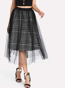 Mesh Overlay Tartan Plaid Skirt