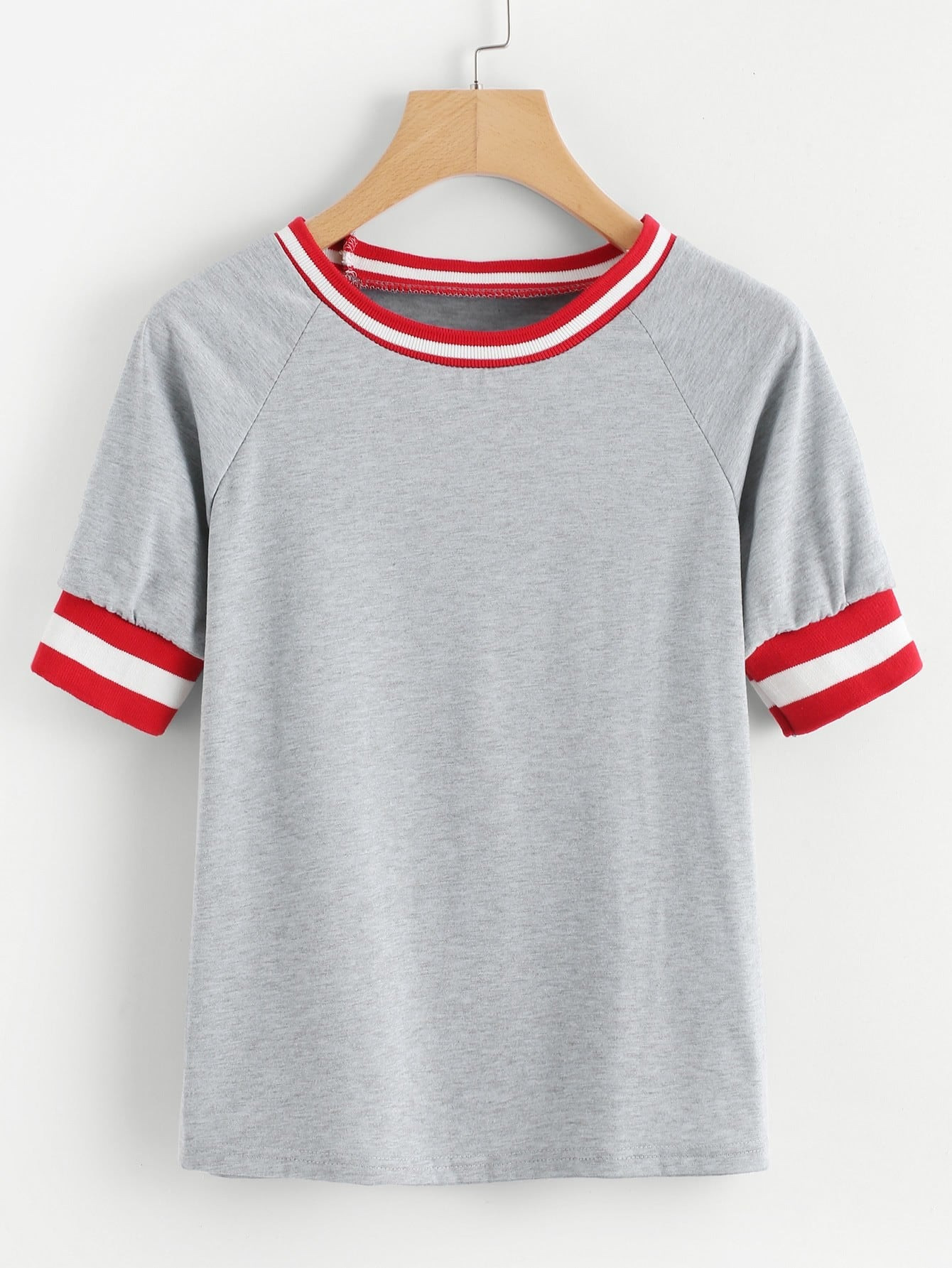 Фото Contrast Stripe Trim Raglan Sleeve Marled Tee men contrast stripe trim tee