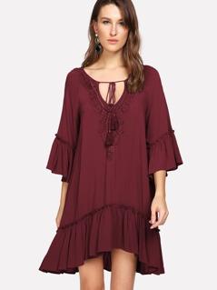 Crochet Trim Tassel Tie Neck Smock Dress