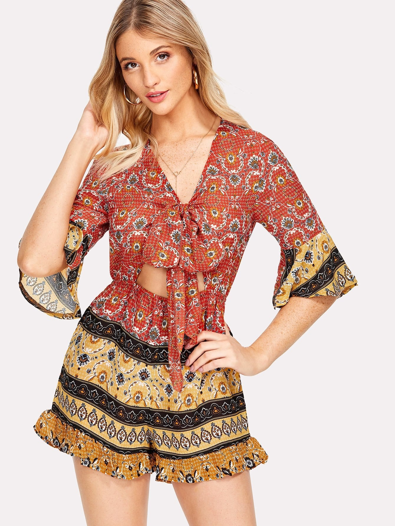 Ornate Print Knot Cutout Front Romper knot front fit