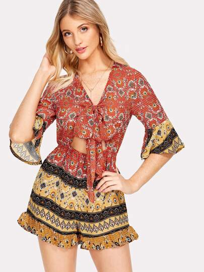 Ornate Print Knot Cutout Front Romper