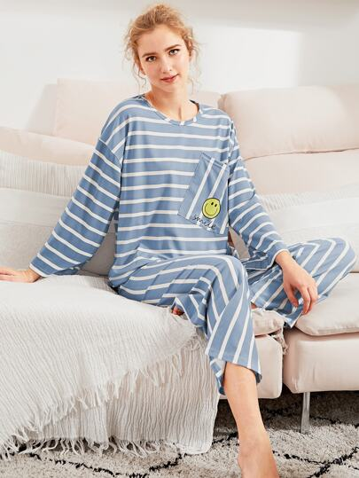 Smiley Print Striped Tee & Pants PJ Set