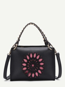 Rockstud Decorated Cut Out Detail Crossbody Bag