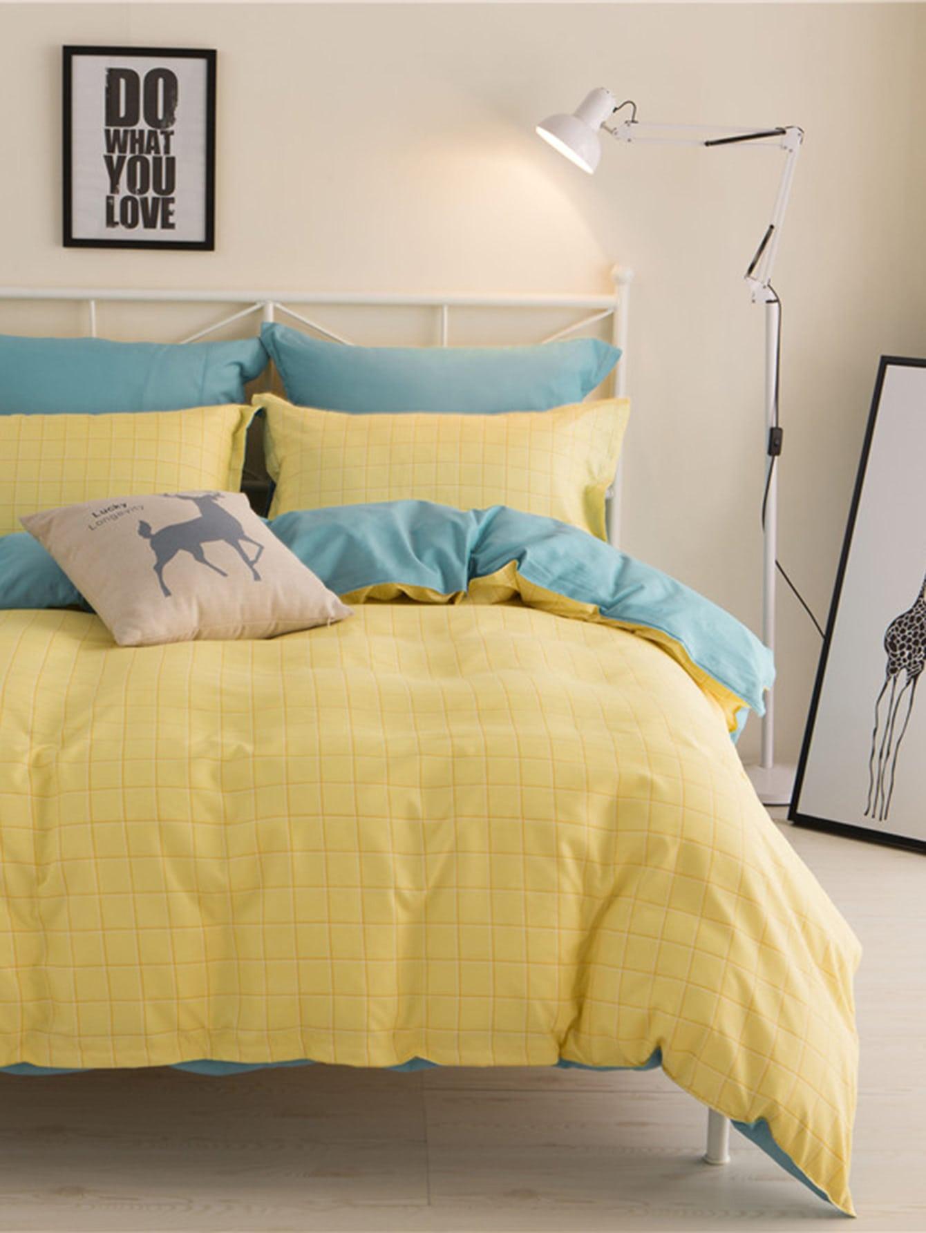 2.2m 4Pcs Grid Print Bed Sheet Set бра leds c4 bed 05 2830 34 34