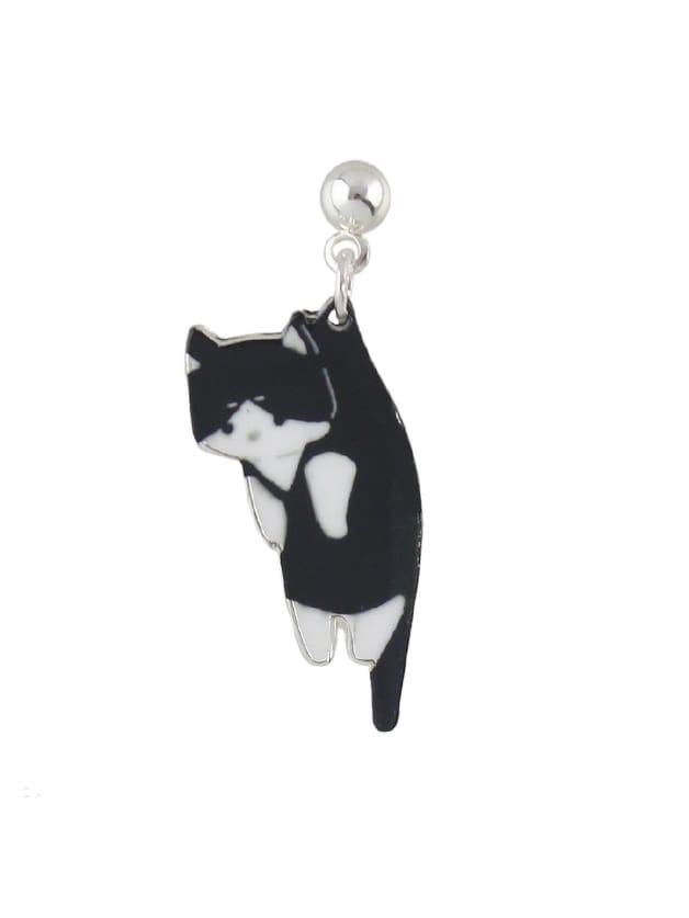 Black 1 Pcs Cute Cat Earring er 3789 stylish retro jewelled pendant earring navy blue 2 pcs