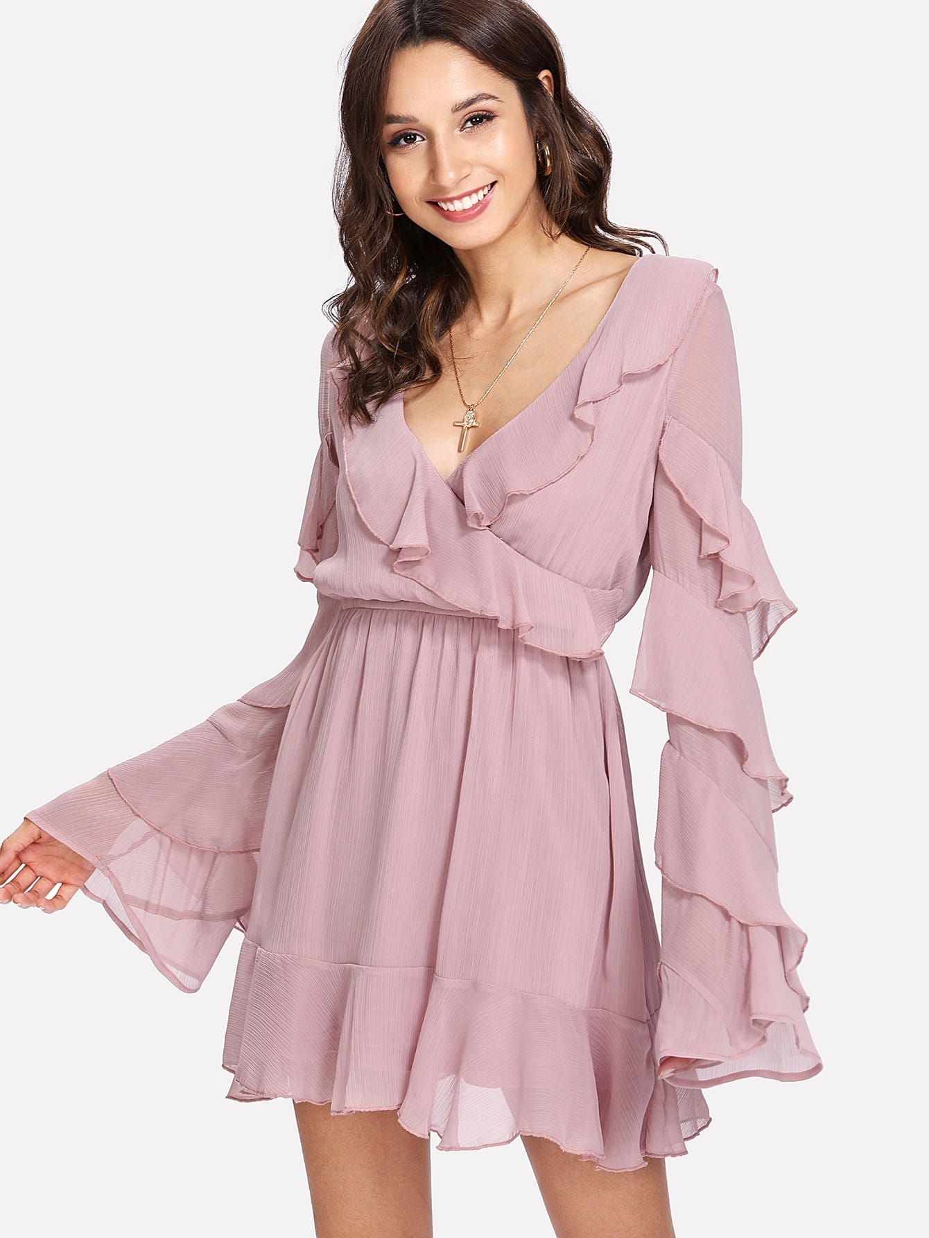 Tiered Bell Sleeve Ruffle Trim Wrap Dress collared wrap front gingham tiered dress