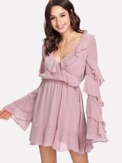 Tiered Bell Sleeve Ruffle Trim Wrap Dress