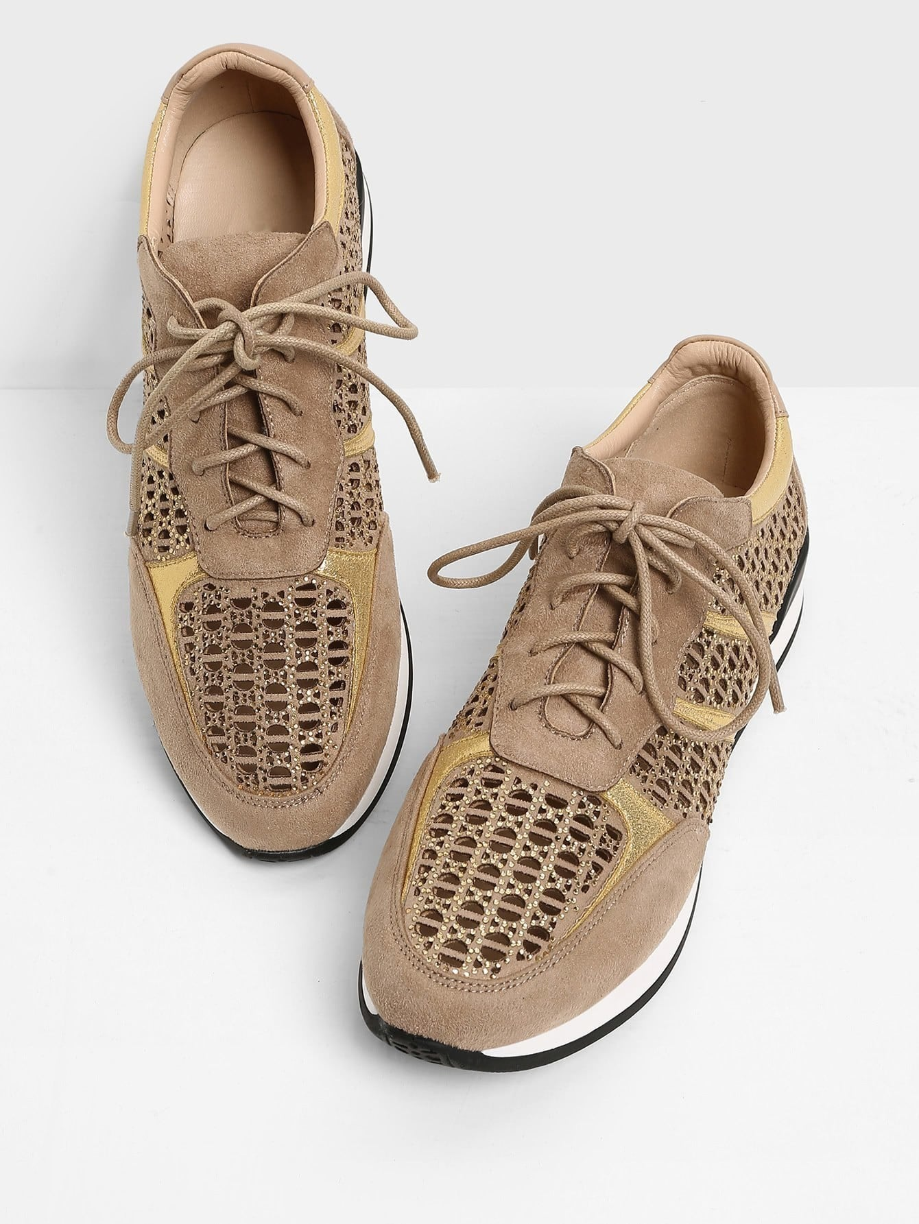 Cut Out Detail Lace Up Sneakers With Rhinestone