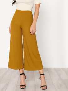 Elastic Waist Solid Culotte Pants