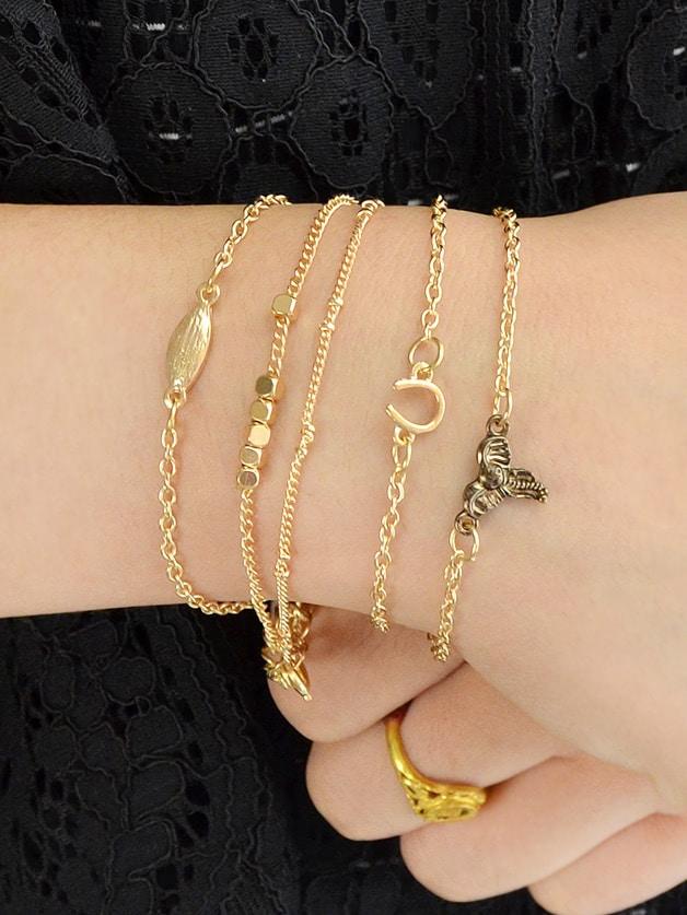 5Pcs/Set Boho Chic Leaf V Shape Elephant Head Charm Bracelets silver multi layers chain with leaf shape charm bracelets