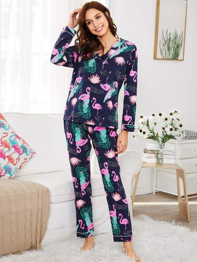 Flamingo Print Top & Pants PJ Set